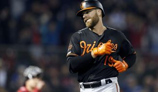 Baltimore Orioles' Chris Davis (19) reacts after lining out to end a baseball game against the Boston Red Sox during the ninth inning in Boston, Friday, April, 12, 2019. (AP Photo/Michael Dwyer)