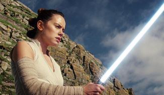 """This image released by Lucasfilm shows Daisy Ridley as Rey in """"Star Wars: The Last Jedi."""" The Skywalker saga may be coming to an end this December as the latest Star Wars trilogy finishes, but 8 months out from its release fans still know precious little about what director J.J. Abrams and Lucasfilm president Kathleen Kennedy have in store for """"Episode IX,"""" which opens nationwide on Dec. 20.  (Lucasfilm via AP)"""