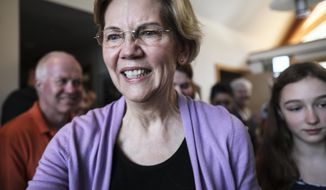 Sen. Elizabeth Warren D-Mass., arrives at the home of Ann Garland in Lebanon, N.H. Saturday, April 13, 2019: (AP Photo/ Cheryl Senter)