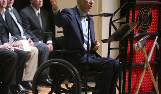 Gov. Greg Abbott speaks to guests during a memorial service and dedication for the new City of West Fallen Heroes memorial Saturday April 13, 2019, in West, Texas for those who died in the 2013 fertilizer plant explosion. (Jerry Larson/Waco Tribune-Herald via AP)
