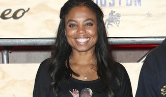 """FILE - This Feb. 3, 2017 file photo shows Jemele Hill at ESPN: The Party 2017 in Houston, Texas. The former ESPN host, best known to the non-sports world for tweets about President Donald Trump that provoked the White House to unsuccessfully seek her firing, launches a weekly podcast Monday on Spotify. Called """"Jemele Hill is Unbothered,"""" she'll conduct interviews and give commentary on sports, politics and culture. (Photo by John Salangsang/Invision/AP, File)"""