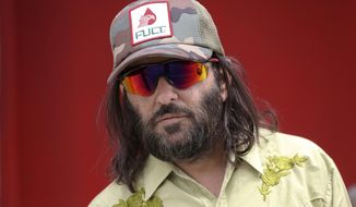 "Los Angeles artist Erik Brunetti, the founder of the streetwear clothing company ""FUCT,"" poses for a photo in Los Angeles Thursday, April 11, 2019. (AP Photo/Damian Dovarganes) ** FILE **"