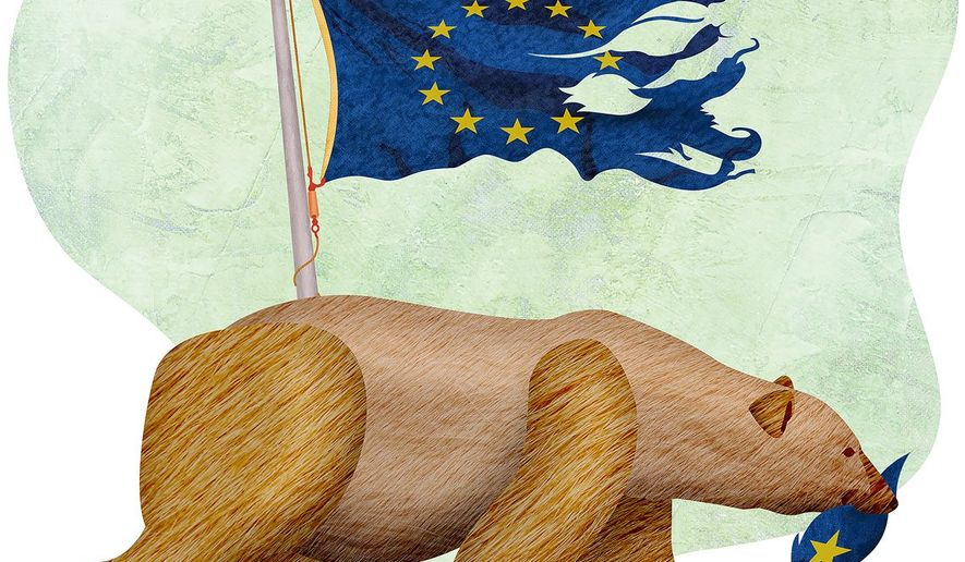 Brexit Bear Illustration by Greg Groesch/The Washington Times