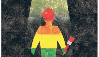 Illustration on the controversy over the nature of homosexuality by Alexander Hunter/The Washington Times
