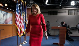 House Speaker Nancy Pelosi is shown in this April 4, 2019 file photo. Mrs. Pelosi told the TIME 100 Summit on April 23 that she has a meeting planned the next week with President Trump to discuss moving forward on an infrastructure bill. (Associated Press/File)