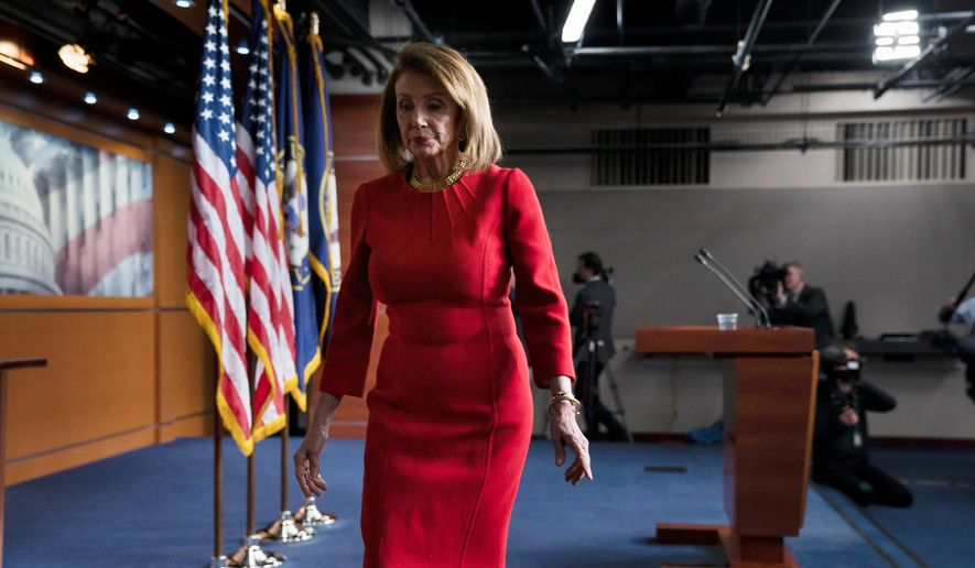"House Speaker Nancy Pelosi noted that Democrats took control during a government shutdown. ""Even with that, I'm very proud of the record we've had for the people on the initiatives that we said we were going to work on,"" she said about their first 100 days. (Associated Press/File)"