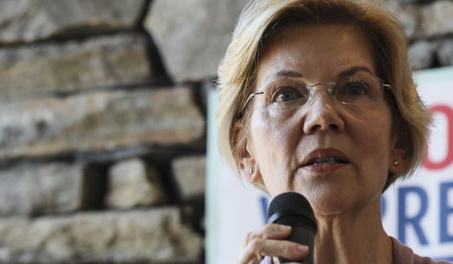 Sen. Elizabeth Warren D-Mass., speaks at Ann Garland's house party in Lebanon, N.H. Saturday, April 13, 2019: (AP Photo/ Cheryl Senter)