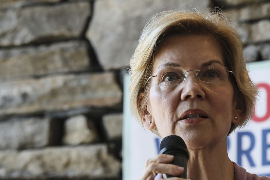 Sen. Elizabeth Warren D-Mass., speaks at Ann Garland's house party in Lebanon, N.H. Saturday, April 13, 2019: (AP Photo/ Cheryl Senter)