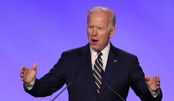 Former Vice President Joe Biden speaks at the International Brotherhood of Electrical Workers construction and maintenance conference in Washington, April 5, 2019. (AP Photo/Manuel Balce Ceneta) ** FILE **