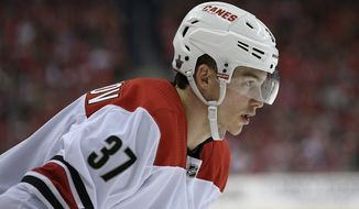 Carolina Hurricanes right wing Andrei Svechnikov (37), of Russia, stands on the ice during the first period of Game 2 of an NHL hockey first-round playoff series against the Washington Capitals, Saturday, April 13, 2019, in Washington. (AP Photo/Nick Wass) ** FILE **