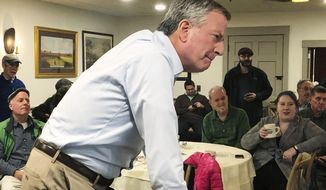This March 17, 2019, file photo shows New York Mayor Bill de Blasio listening as he speaks before a group of people at a restaurant in Concord, N.H. (AP Photo/Hunter Woodall) ** FILE **