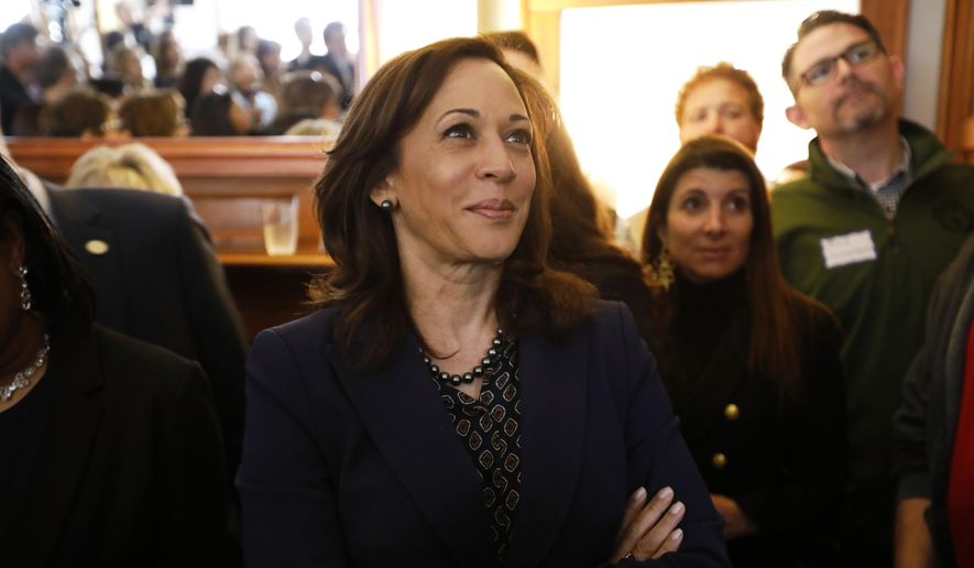 2020 Democratic presidential candidate Sen. Kamala Harris waits to speak at a house party, Thursday, April 11, 2019, in Des Moines, Iowa. (AP Photo/Charlie Neibergall) ** FILE **
