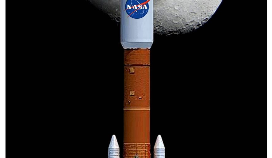 Illustration on a new U.S. moon mission by Alexander Hunter/The Washington Times