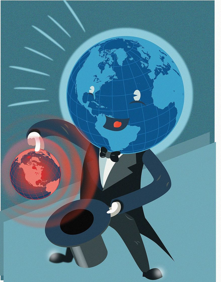 Illustration on climate change by Linas Garsys/The Washington Times