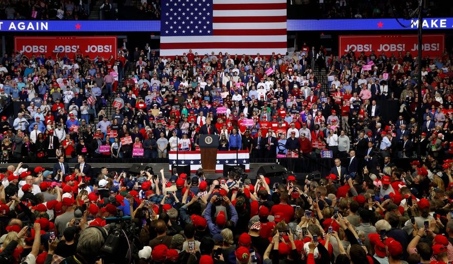 President Trump has held 67 fundraisers in office, including seven in 2019's first quarter. His rallies have been earlier than past incumbents. (Associated Press)