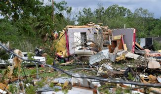 More than 30 homes were damaged when a tornado flattened part of Franklin, Texas. (ASSOCIATED PRESS)
