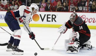 Carolina Hurricanes goalie Petr Mrazek (34) blocks Washington Capitals' Nicklas Backstrom during the first period of Game 3 of an NHL hockey first-round playoff series in Raleigh, N.C., Monday, April 15, 2019. (AP Photo/Gerry Broome) ** FILE **