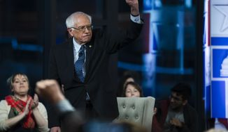 Sen. Bernie Sanders, I-Vt., takes part in a Fox News town-hall style event, Monday April 15, 2019 in Bethlehem, Pa. (AP Photo/Matt Rourke)