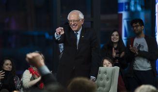 Sen. Bernie Sanders, I-Vt., takes part in a Fox News town-hall style event, Monday April 15, 2019 in Bethlehem, Pa. (AP Photo/Matt Rourke)