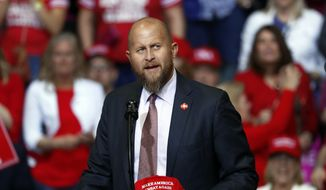 Brad Parscale, manager of President Donald Trump's reelection campaign, speaks before a rally in Grand Rapids, Mich., Thursday, March 28, 2019. (AP Photo/Paul Sancya) **FILE**