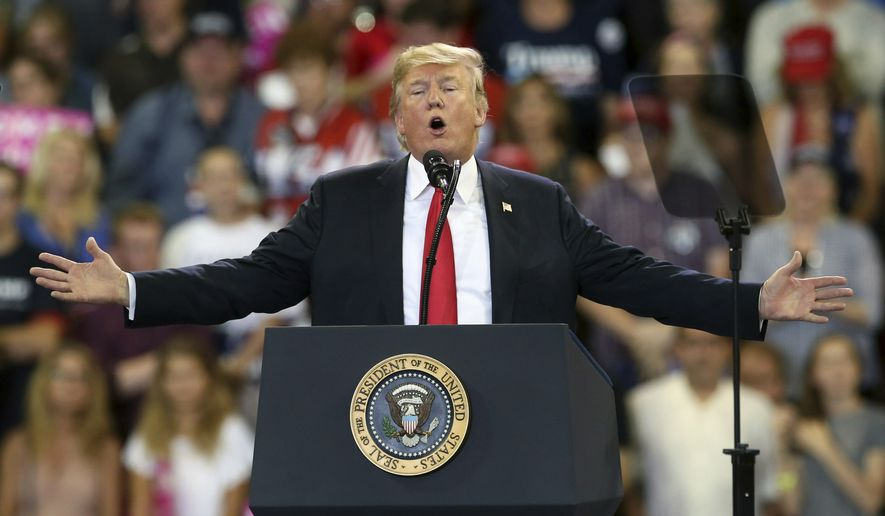 FILE - In this June 20, 2018 file photo, U.S. President Donald Trump speaks at a campaign rally in Duluth, Minn. Trump heads back to Minnesota on the nation's tax filing deadline, Monday, April 15, 2019, eager to remind voters in a state he nearly carried in 2016 about the $1.5 trillion Republican tax cut. It's a policy achievement that won't resonate with everyone in Minnesota, where the loss of the state tax deduction hurt some taxpayers. And national polls show most Americans don't have a clear idea what the tax cuts did for them. (AP Photo/Jim Mone File)