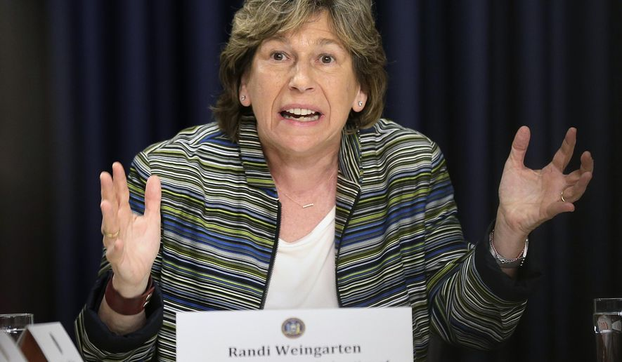 FILE - In this Tuesday, June 5, 2018, file photo, Randi Weingarten, American Federation of Teachers president, speaks during a news conference in New York. Weingarten said the competition in the crowded Election 2020 field has amplified workers voices and issues. (AP Photo/Seth Wenig, File)