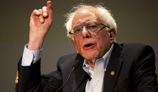 Presidential candidate and U.S. Sen. Bernie Sanders (I-VT) speaks to a gathering of the Pennsylvania Association of Staff Nurses and Allied Professionals at Mohegan Sun Pocono in Plains Twp., Pa. on Monday, April 15, 2019. (Christopher Dolan/Times-Tribune via AP)