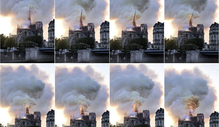 In this combination of photos, flames and smoke rise as the spire on the Notre Dame Cathedral collapses during a fire in Paris, Monday, April 15, 2019. (AP Photo/Diana Ayanna)
