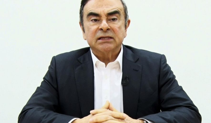 In this image made from video released by Carlos Ghosn via his lawyer on Tuesday, April 9, 2019, former Nissan chairman Ghosn speaks on camera in Tokyo. Japan's Supreme Court turned down an appeal by the lawyers for Ghosn to end his detention following his arrest for the fourth time on financial misconduct allegations. The court decision came Friday, and was relayed to foreign media Monday, April 15, 2019. (Carlos Ghosn via AP)
