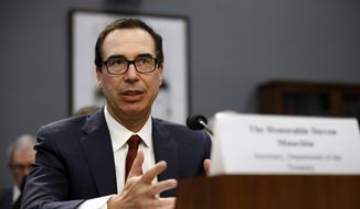 This April 9, 2019, file photo shows Treasury Secretary Steven Mnuchin testifying  before a House Appropriations subcommittee during a hearing on President Trump's budget request for Fiscal Year 2020, in Washington. (AP Photo/Patrick Semansky, File)