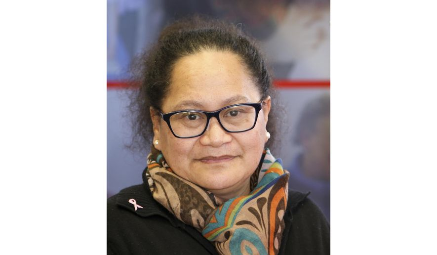This undated photo released by International Committee of the Red Cross, the organization's New Zealand nurse Louisa Akavi. New Zealand's foreign minister has confirmed the nurse has been held captive by the Islamic State group in Syria for almost six years, information long kept secret for fear her life might be at risk. The status of nurse and midwife Akavi, now 62, is unknown but her employer, the International Committee of the Red Cross, says it has received recent eyewitness reports suggesting she might be alive. (International Committee of the Red Cross via AP)