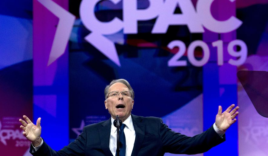 """FILE--In this March 2, 2019, file photo, NRA executive vice president and CEO Wayne LaPierre speaks at Conservative Political Action Conference, CPAC 2019, in Oxon Hill, Md. The association is suing its ad agency over accusations the company has withheld crucial financial details. The lawsuit filed Friday in Virginia says Oklahoma City-based Ackerman McQueen is contractually bound to show documentation on its bills to the NRA but that the firm has """"baldly ignored"""" requests for more information. The lawsuit says the NRA paid the company more than $40 million in 2017. (AP Photo/Jose Luis Magana)"""