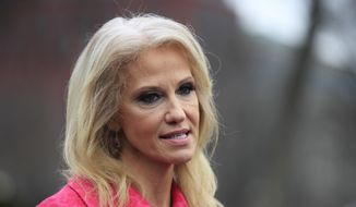 In this Feb. 22, 2019, file photo, counselor to the President Kellyanne Conway speaks to reporters outside the West Wing of the White House in Washington. (AP Photo/Manuel Balce Ceneta, File)