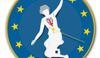 Illustration on Brexit delays by Linas Garsys/The Washington Times