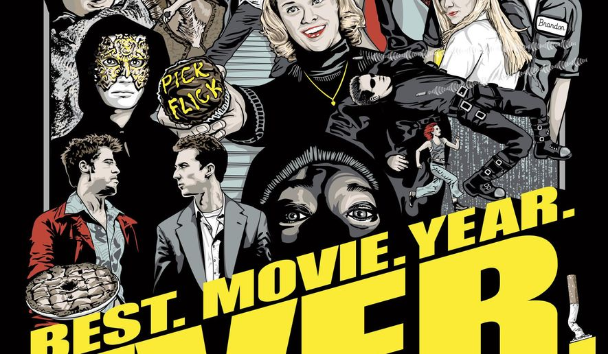 """This photo provided by Simon & Schuster shows the cover of """"Best. Movie. Year. Ever.: How 1999 Blew Up the Big Screen,"""" by Brian Raftery.  Culture writer Brian Raftery wants to argue that 1999 was the best movie year ever.  Similar claims have been made about 1939 (""""Gone With the Wind,"""" """"The Wizard of Oz,"""" """"Stagecoach,"""" """"Mr. Smith Goes to Washington,"""" among others). The staff of The Washington Post recently cited seven different years, including 1939 and 1999. Raftery himself points to 1939 and three years the Post excluded: 1967, 1977 and 1985.  (Simon & Schuster via AP)"""