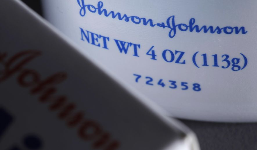 FILE - This Friday, Oct. 10, 2008, file photo illustration shows Johnson & Johnson products, in Philadelphia. Johnson & Johnson is topping profit and revenue expectations for the first quarter partially on strong sales of its psoriasis treatment, Stelara.  The New Brunswick, N.J., company on Tuesday, April 16, 2019  posted profit of $3.75 billion, or $1.39 per share. Earnings, adjusted for amortization costs and research and development costs, were $2.10 per share, or 7 cents better that Wall Street expected, according to a survey by Zacks Investment Research. (AP Photo/Matt Rourke, File)