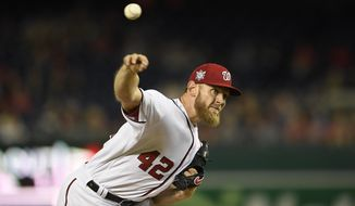 Washington Nationals starting pitcher Stephen Strasburg throws during the fourth inning of the team's baseball game against the San Francisco Giants, Tuesday, April 16, 2019, in Washington. (AP Photo/Nick Wass)