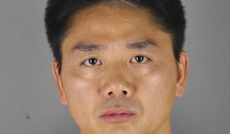 FILE - This 2018 file photo provided by the Hennepin County Sheriff's Office in Minneapolis shows Chinese billionaire Liu Qiangdong, also known as Richard Liu, the founder of the Beijing-based e-commerce site JD.com, who was arrested Aug. 31, 2018, in Minneapolis on suspicion of criminal sexual conduct. A woman who said she was raped by Liu filed a lawsuit Tuesday, April 16, 2019, against the billionaire and his company alleging he and other wealthy Chinese executives coerced her to drink during a dinner in the hours before she was attacked. (Hennepin County Sheriff's Office via AP, File)