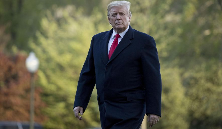 President Donald Trump walks on the South Lawn as he arrives at the White House in Washington, Monday, April 15, 2019, after visiting Minnesota. (AP Photo/Andrew Harnik)