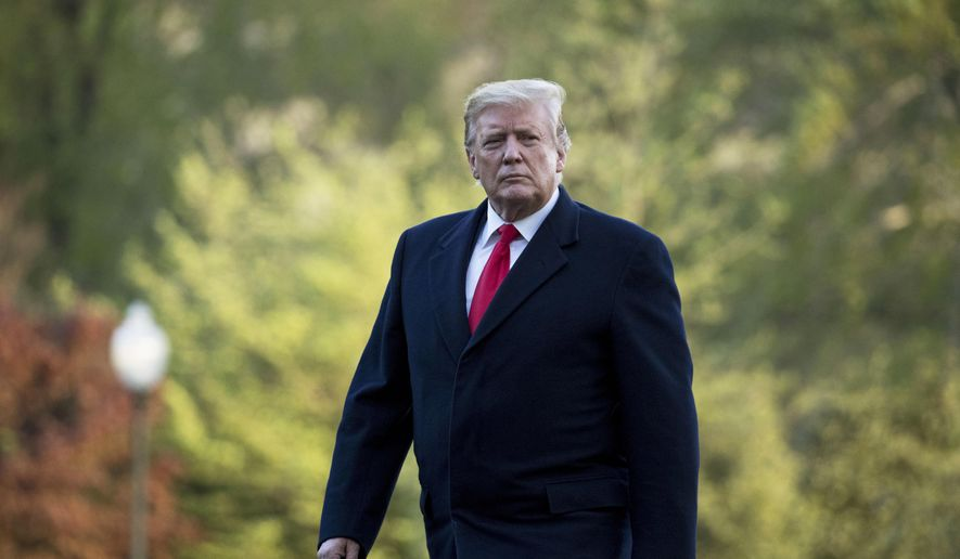 In this April 15, 2019, file photo, President Donald Trump walks on the South Lawn as he arrives at the White House in Washington. (AP Photo/Andrew Harnik, File)