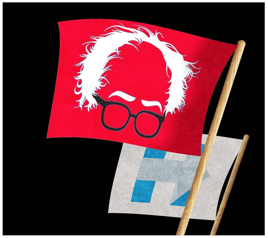 Illustration on the Sanders campaign by Alexander Hunter/The Washington Times