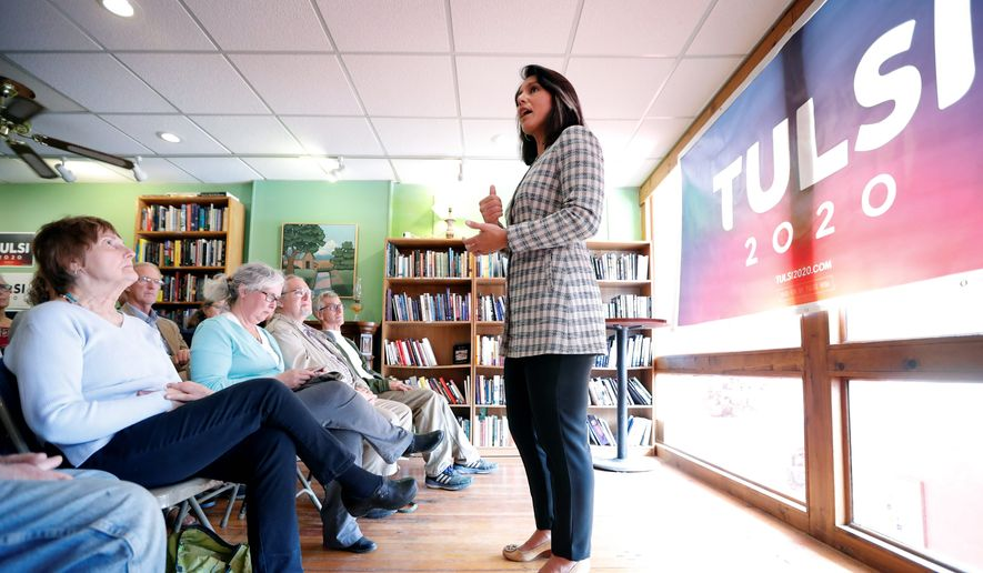 Democratic presidential candidate Tulsi Gabbard slammed President Trump on Wednesday for vetoing a congressional resolution calling for an end to U.S. assistance for a Saudi-led coalition intervening in the civil war in Yemen. (Associated Press)