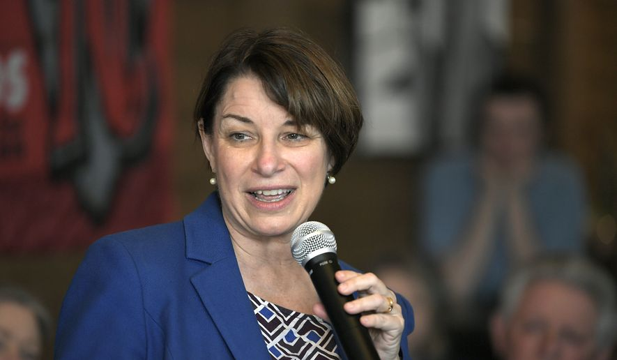Democratic presidential hopeful Sen. Amy Klobuchar, D-Minn., speaks to people at Edley's Bar-B-Que in Nashville, Tenn., Wednesday, April 17, 2019. (Shelley Mays/The Tennessean via AP)