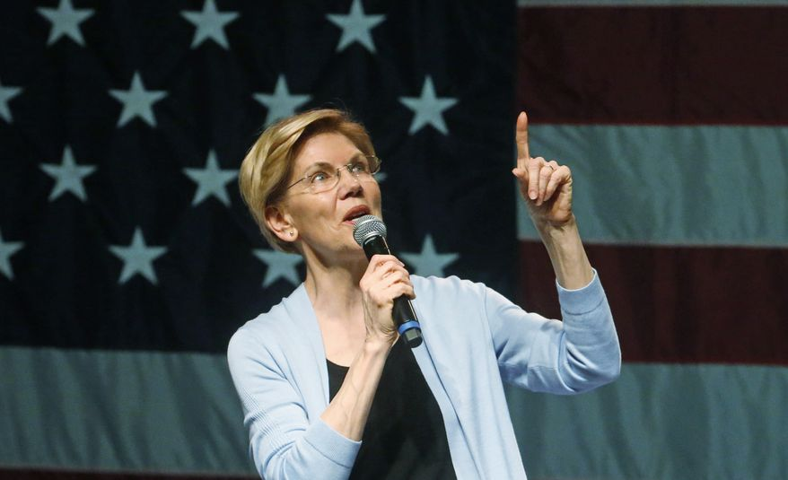 Democratic presidential candidate Sen. Elizabeth Warren, D-Mass., speaks during an campaign rally Wednesday, April 17, 2019, in Salt Lake City. (AP Photo/Rick Bowmer)