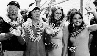 """The cast of """"Gilligan's Island"""" poses during filming of a two-hour reunion show, """"The Return from Gilligan's Island,"""" in Los Angeles, Ca., Oct. 2, 1978. From left are Alan Hale Jr., the skipper; Bob Denver, as Gilligan; Judith Baldwin, as Ginger, the only new cast member; and Dawn Wells, as Mary Ann. It is the first new episode since the series left the networks 11 years ago.  (AP Photo/Wally Fong) ** FILE **"""