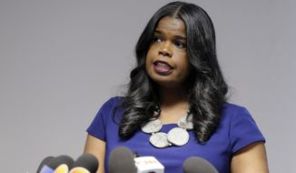 "FILE - In this Feb. 22, 2019 file photo, Cook County State's Attorney Kim Foxx speaks at a news conference, in Chicago. Text messages show Fox, the Chicago prosecutor whose office handled the case of ""Empire"" actor Jussie Smollett told her top deputy that Smollett was a ""washed up celeb"" who was overcharged. The office of Cook County State's Attorney released thousands of documents from the investigation late Tuesday, April 16, 2019, in response to media requests. (AP Photo/Kiichiro Sato, File)"