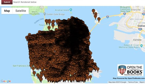 Auditors at OpenTheBooks.com plotted every reported instance of human feces found in San Francisco neighborhoods since 2011. (Image: OpenTheBooks.com screenshot)