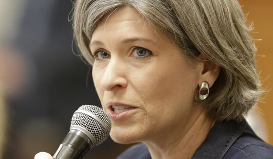Sen.Joni Ernst, R-Iowa, speaks during a field hearing of the Senate Committee on Environment and Public Works, in Glenwood, Iowa, Wednesday, April 17, 2019. The hearing was called to investigate the U.S. Army Corps of Engineers' Management of the 2019 Missouri River Basin Flooding. (AP Photo/Nati Harnik)