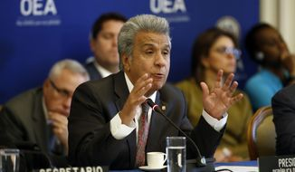 Ecuador's President Lenin Moreno addresses the Permanent Council of the Organization of American States, Wednesday, April 17, 2019, in Washington. (AP Photo/Patrick Semansky)