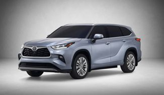 This undated product image provided by Toyota Motor Co. shows the 2020 Highlander. The popular midsize family-hauling SUV gets a complete revamp with a roomier interior, a redesigned gas-electric hybrid power system and added safety features. (Toyota Motor Co. via AP)